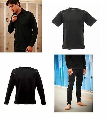 Mens Regatta Black Base Layer Zip/Crew Neck Leggings Wicking Thermal • 5.99£