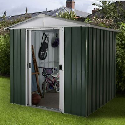 6x5 METAL GARDEN SHEDS YARDMASTER SHED 6ft X 5ft APEX GREEN STEEL STORE HOT DIP • 229.94£