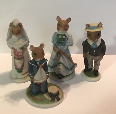 Franklin Mint 1985 The Woodmouse Family Porcelain Figurine Lot Of 4 • 10$