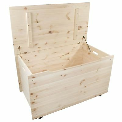 £84.95 • Buy XXLarge Wooden Storage Trunk Toy Box Bedroom Chest / Unpainted Pine To Decorate