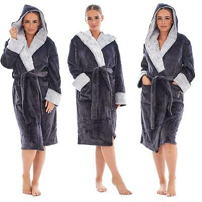 AU35.64 • Buy Ladies Luxury Fleece Charcoal Hooded Dressing Gown With Faux Fur Trim  8 - 22