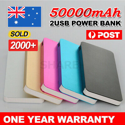AU17.95 • Buy 50000mAh External Power Bank Dual USB Portable Battery Charger For Mobile Phone