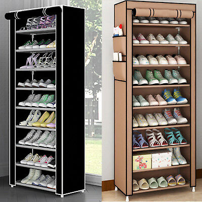 £12.89 • Buy Dustproof 10 Tier 27 Pair Shoes Cabinet Storage Organiser Rack Stand Hold Canvas