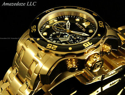 d35173406 Invicta Men Pro Diver Scuba Chrono 18KT Gold Plated Stainless St Black Dial  Watc • 89.99