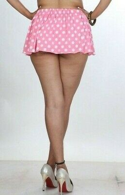 Just Short Mini Skirt Girls Ladies Party High Waist Stretchy Pink Polka Dot  005 • 9.92£