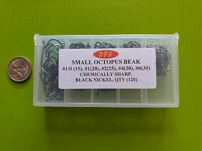 AU12.57 • Buy BOXED 120 DFS SMALL Octopus BEAK Suicide Fishing Hooks Chemically Sharp Tackle