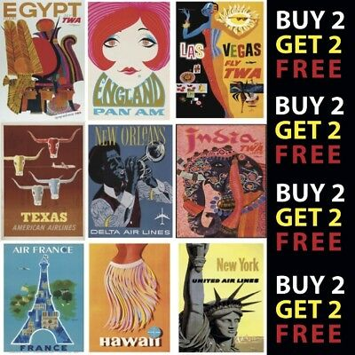 VINTAGE RETRO AIRLINE TRAVEL POSTERS A4 - A3 Prints 300gsm Paper/Card • 2.99£