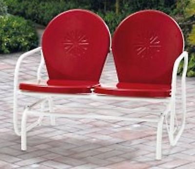 $295.85 • Buy Retro Metal Glider Garden Seating Outdoor Furniture Yard Patio Red Chair Seats 2