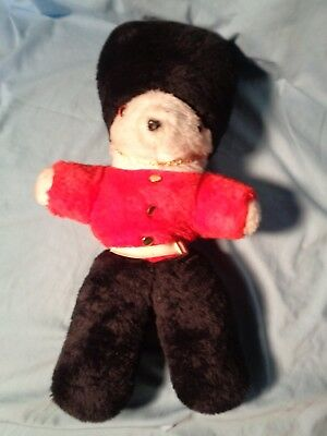 £17.95 • Buy ANTIQUE Stuffed CHRISTMAS TOY SOLDIER Royal Guard BEAR Black Hat Pants Red Vest