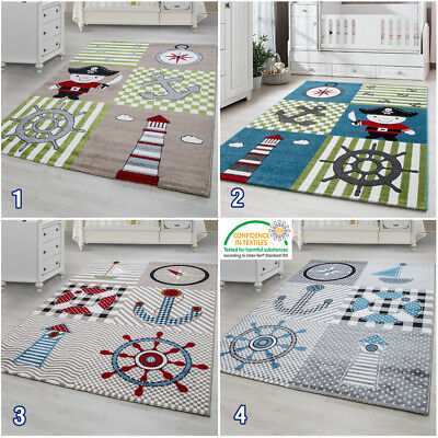 Boys Nursery Rug For Kids Nautical Theme Childrens Bedroom Carpet Baby Boy Mats • 44.99£