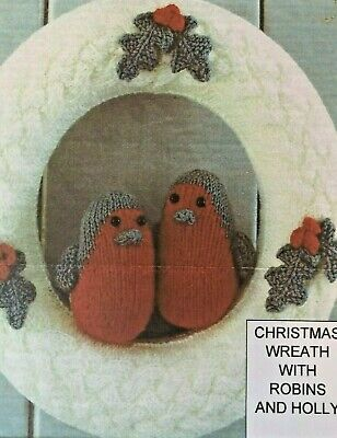£1.99 • Buy Knit A Christmas Wreath With Robins & Holly .. Knitting Pattern