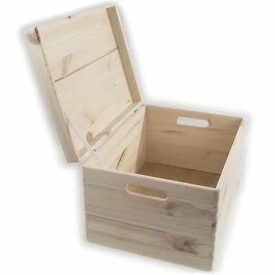 £31.95 • Buy XLarge Wooden Toy Chest Trunk Storage Box With Hinged Lid & Handles / Unpainted