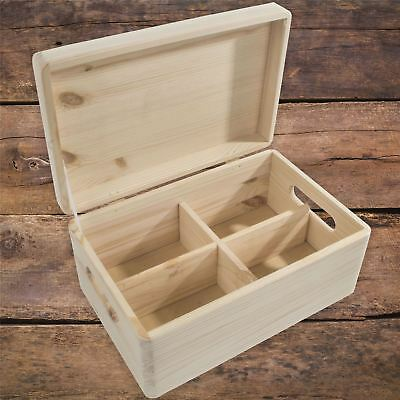 Medium Plain Wooden Storage Chest Box With Removable Compartments Lid & Handles • 15.95£