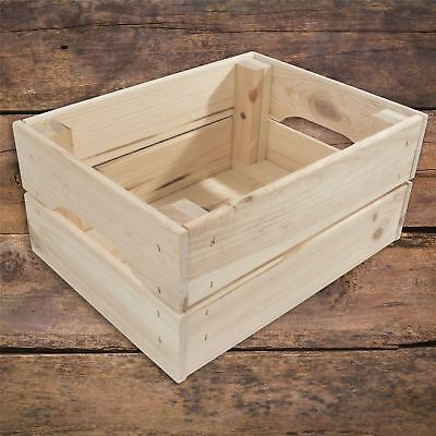Small Wooden Crate Storage Vegetable Box With Handles Made Of Unpainted Pinewood • 12.95£