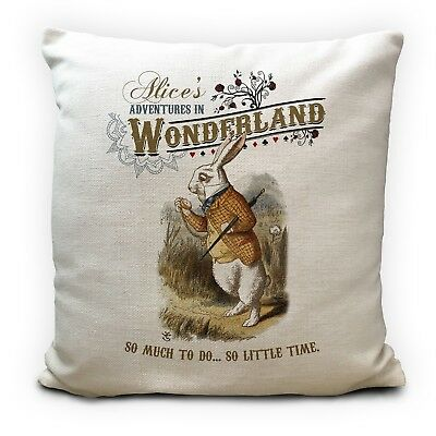 £11.99 • Buy ALICE IN WONDERLAND Cushion Cover White Rabbit So Little Time Quote 40 Cm 16Inch