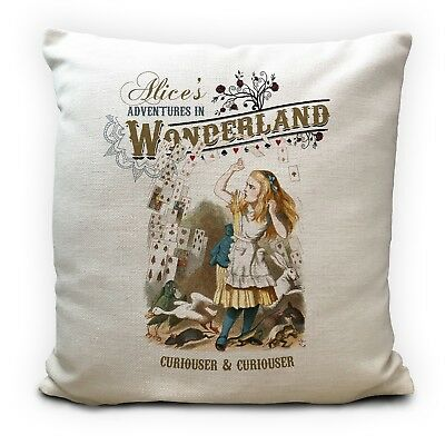 £11.99 • Buy ALICE IN WONDERLAND Cushion Cover Curiouser And Curiouser Quote 40 Cm 16Inch