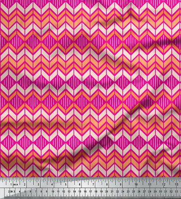 Soimoi Fabric Chevron Geometric Print Sewing Fabric Meter-GMD-651J • 7.60£