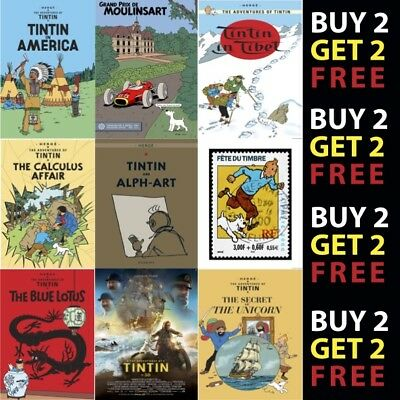 Set x12 Citroen Tintin Prints A4 Posters 1985 Special Herge drawings 2CV Car