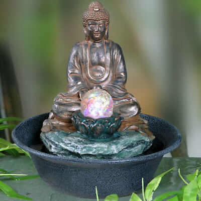 £29.99 • Buy Buddha Tabletop Indoor Fountain / Water Feature With Bubble Globe AP01830AB