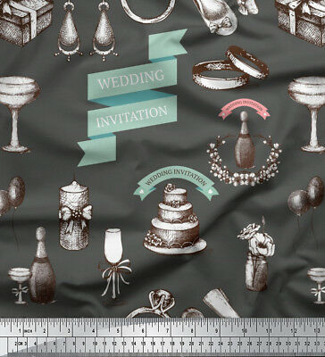 Soimoi Fabric Wedding Invitation Party Print Fabric By Meter-PY-503D • 7.60£