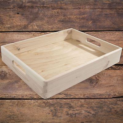 Stackable Shallow Non-lidded Open Top Wooden Crate Storage Box With Handles Feet • 11.95£