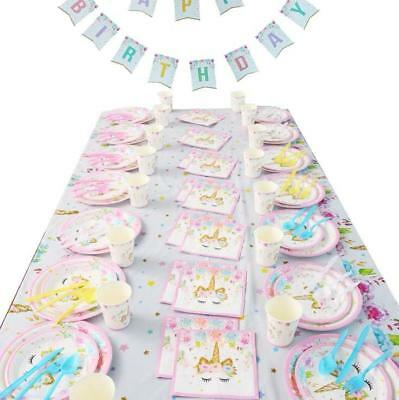 AU7.39 • Buy Unicorn Tableware 9 Items 114pcs 16 Guest Table Cloth Balloons Party Supplies