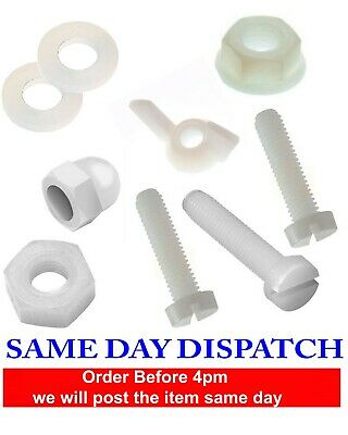 £2.99 • Buy SLOTTED Bolt And Nuts Sets Screw Plastic Nylon 66 Washers M3 M4 M5 M6 M8