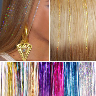 Long Hair Tinsel Sparkle Holographic Glitter Extensions Highlight Party Wedding • 1.99£