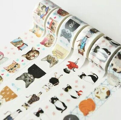 AU1.30 • Buy Wide Washi Tape Cats Portrait Cats In Fashion Sold By Meter MT270