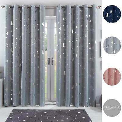 View Details Dreamscene Star Thermal Blackout Curtains PAIR Eyelet Ready Made Kids Boys Girls • 14.50£