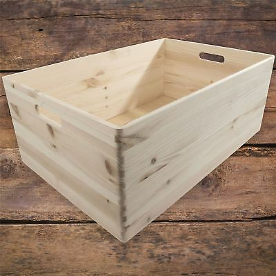 Extra Large Trunk Wooden Storage Toy Box Open Non-lidded Crate Craft Decoupage • 32.95£
