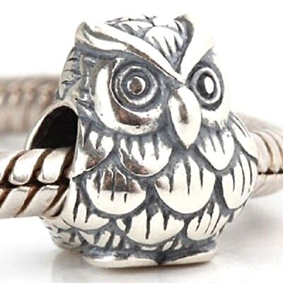 Owl Charm Bead 925 Sterling Silver • 9.95£