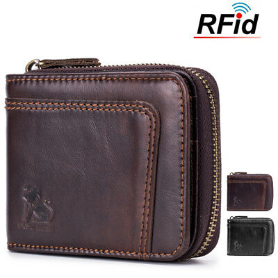 AU25.99 • Buy Mens RFID Genuine Leather Wallet Blocking Secure Vintage 13 Card Slots Purses