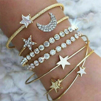 4Pcs Ladies Leaf Knot Diamond Pendant Gold Opening Bracelet Bangle For Women  • 3.21£