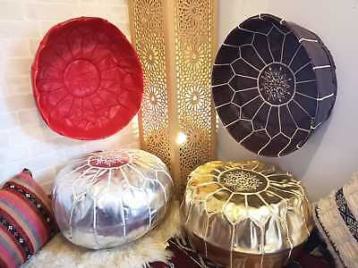 MOROCCAN GIFT POUFFE  FAUX LEATHER FOOTSTOOL COLOURS  OTTOMAN POUFFET Red Brown  • 39£