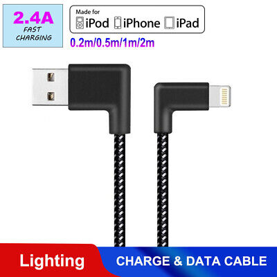 AU4.95 • Buy Braided 90 Degree Right Angle USB Charger Lightning Cable Apple IPhone IPod IPad