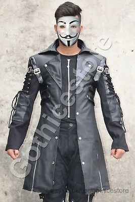 Men Black Gothic Jacket Steampunk Military Faux Leather Coat Jacket • 76.54£