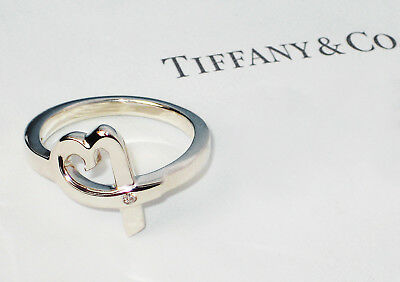 Tiffany & Co Paloma Picasso Sterling Silver Loving Heart .03ct Diamond Band Ring • 229.99£