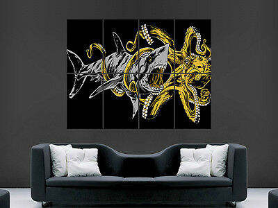 £17.99 • Buy Shark Battle Octopus Poster Trippy Abstract Wall Art Large Huge Giant Print