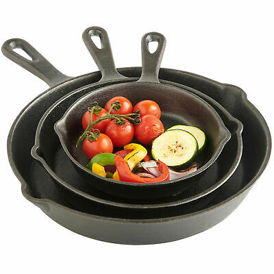 3PCS Cast Iron Non Stick Frying Pan Pre Seasoned BBQ Griddle Skillet Grill Set • 16.99£