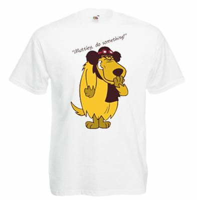 Unisex White Muttley Do Something T-Shirt Shirt Wacky Races • 9.95£