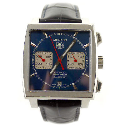 TAG HEUER MONACO STEVE McQUEEN CAW2111 CAL12 BLUE DIAL STAINLESS STEEL WATCH • 2,760.10£