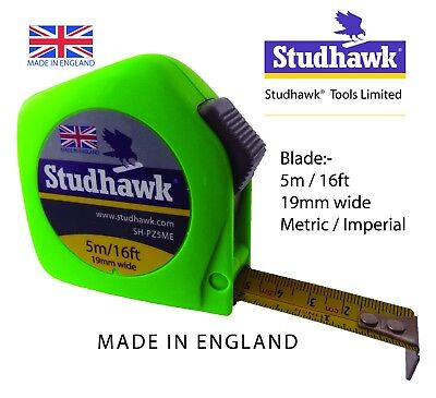 1 X STUDHAWK Tape Measure 5m/16ft 19mm Wide Fisco Proflex PZC5ME Made In England • 6.24£
