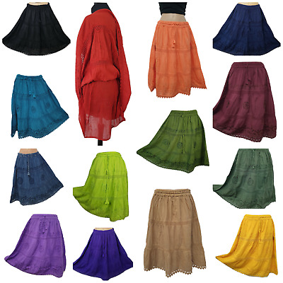 £14.99 • Buy Cotton Skirt Knee Length Crochet Lace Boho Embroidered One Size 8 10 12 14 16 18