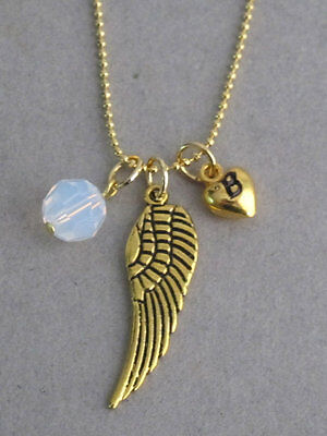 Pearsonalized Gold Angel Wing Necklace With A Birthstone 3D Puffy Heart Initial  • 9.19£