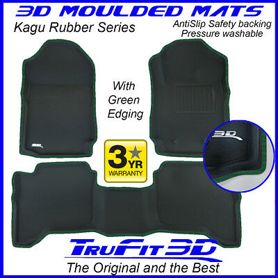 AU1099 • Buy Fit Ford Ranger Dual Cab 2011-2021 Genuine 3D Rubber Floor Mat With Green Edge
