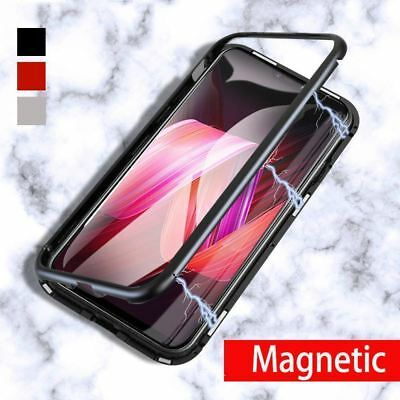 $ CDN14.82 • Buy Samsung Galaxy S8 S9 Note 9 Magnetic Absorption Case Tempered Glass Metal Cover