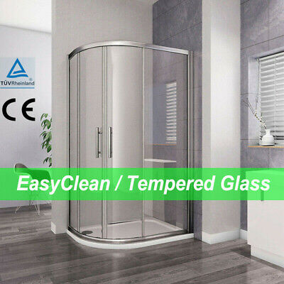 Aica Offset Quadrant Shower Enclosure And Tray Corner Cubicle Glass Door Screen • 102.99£