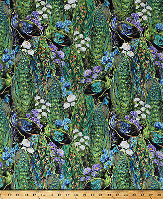 £8.69 • Buy Cotton Peacocks Birds Flowers Floral Nature Plumage Fabric Print By Yard D582.52