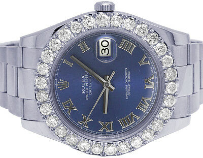 $ CDN14494.18 • Buy Mens Rolex Datejust II 116300 41MM Stainless Steel Blue Dial Diamond Watch 6 Ct